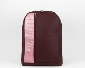 Simple Backpack, Minimalist Backpack, Contemporary Bag, Modern Backpack, Gift for Her, Unique Design, Burgundy Bag, Purse for Women