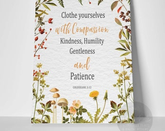 Clothe yourselves / Colossians 3:12 / Country Flowers / Wild Flowers / Scripture Art / Bible Verse / Christian Art / Christian Gift / Canvas