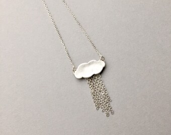 Silver Rain Cloud Pendant, Minimalist Raindrops Charm, Rainy Day Weather Jewelry, Silver Lining, Gifts for Women, Little Rain Cloud Necklace