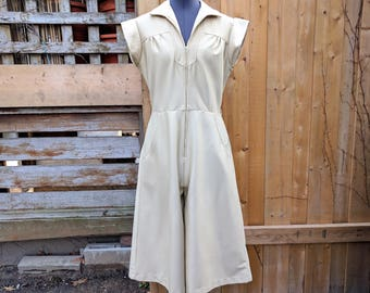 Vintage 1970's Beige Culottes Jumpsuit Sears Young and Lively Sleeveless Pantsuit