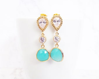 turquoise wedding earrings gold, turquoise blue earrings, bridesmaid gift, bridal earrings,  drop earings, dangle earrings, crystal earrings
