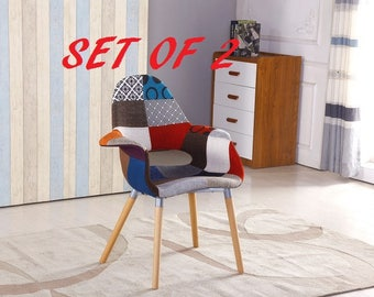 Set of 2 Patchwork Chair Modern Living Room Dining Room Chair Mid Century Design Eames Style With Arms EAMES