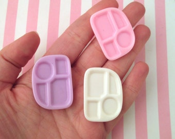 3 Multicolor Miniature Food Tray Resin Cabochons, Perfect for Dollhouse Miniatures #308