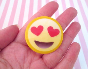 2 Heart Eyes Emoji Cabochons, Smiley Face Cabs, #405