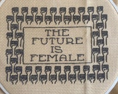 The Future Is Female Blackwork Embroidery Pattern - All profits go to the ACLU