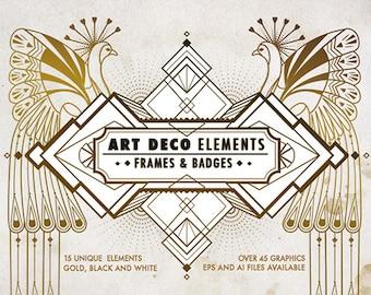 Art Deco Elements Frames and Badges Design Kit, Art Deco pattern, Art Deco card frames, Art Deco graphics, Vintage vector elements, Overlays