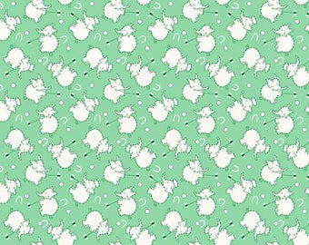 Nana Mae Green Elephants 30's Reproduction Fabric from Henry Glass by the yard
