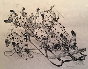 Dog Sledding Print ~ Dalmatians Playing with Sled Print ~ Not signed ~ Vintage