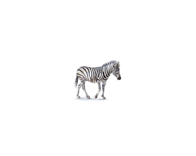 "Print of miniature painting of a Zebra. 1 1/4"" x 1 1/4"" print of original Zebra painting on 5"" square german etching paper"