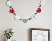 Classic Red heart valentine garland - banner - bunting - holiday decor - custom banner - custom garland - custom bunting - modern