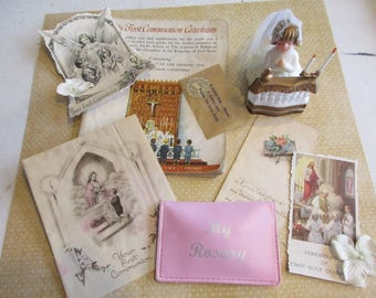 Lot of Religious Icons, Prayer Cards, , Religious Relics, Church Lace Hat, First Communion, Religious Supplies