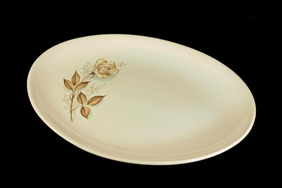Mount Clemens, Platter, Brown Rose, Hard to Find Pattern, Oval Platter, Floral Platter