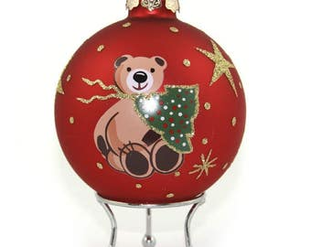 Red Handpainted Glass Christmas Bear Bauble