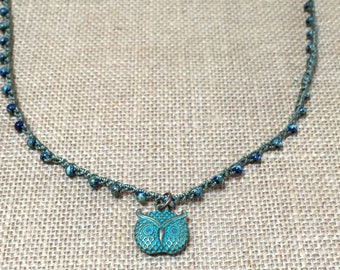 Boho crochet necklace, long beaded crochet necklace, fun layering necklace - whimsical owl - bohemian crochet  jewelry