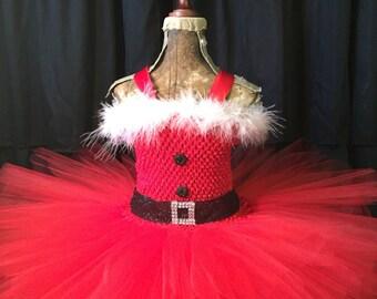The Jolly- Santa tutu, Christmas tutu dress, holiday tutu dress, Christmas outfit, Santa outfit for girls, Santa dress, red and white tutu