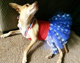 4th of july dog, patriotic dog outfit, Fourth of July parade dog outfit, USA Olympic dog, American dog outfit, USA tutu, patriotic dog
