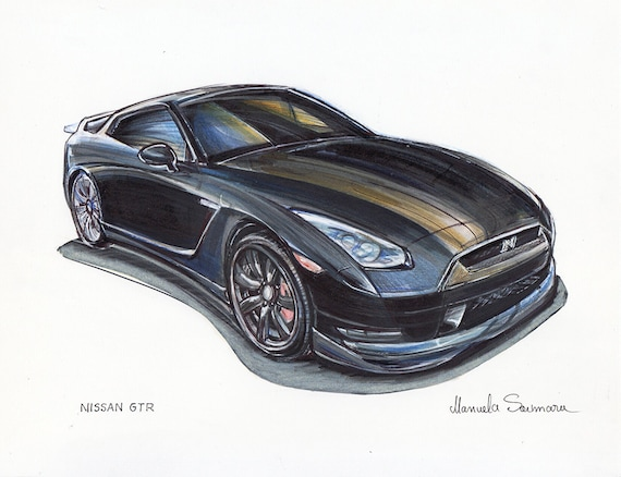 Nissan Gt R Car Print Supercar Drawing Automotive Art