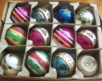 Twelve Assorted Large Shiny Brite Christmas Ornaments