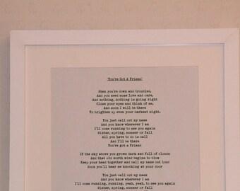 Modern Framed Lyric Sheet