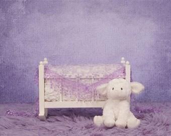 Digital Newborn Backdrop Purple Baby Doll Crib. One of a kind prop!