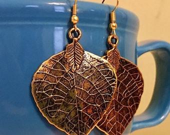 Aspen Leaf Earrings - Bohemian, Gypsy Style, Antique Gold