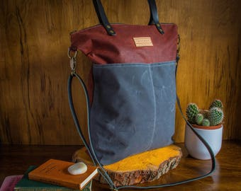 Waxed Canvas Cross Body Tote Bag Rust/Grey, Canvas tote bag, Canvas leather bag, Fernweh UK, cross body day bag, canvas shoulder bag