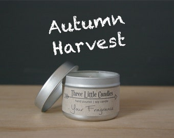 Autumn Harvest Soy Candle Tins With Clear Lid - 2oz, 4oz or 8oz