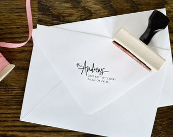 Hand-Lettered Rubber Address Stamp, Custom Wooden Handled Rubber Address Stamp — Andrews Style