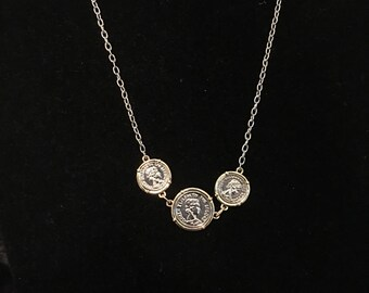 Coin necklace, two tone necklace, riund coin necklace