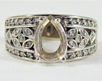 Vintage 14k White Gold Pear-Shaped Engagement Ring Setting
