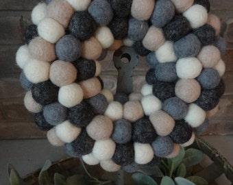 "Handmade 8"" Wool Felt Ball Wreath"