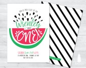 watermelon birthday invitation, watermelon birthday party, watermelon party supplies, one in a melon invitation, one in a melon birthday