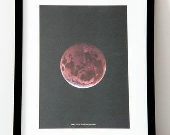 Framed 1959 Vintage Moon/ Lunar Eclipse Print