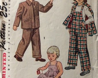 Simplicity 2300 childs overalls and jacket size 1 vintage 1940's sewing pattern