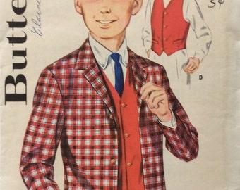Butterick 2588 boys jacket and vest size 12 chest 30 vintage 1960's sewing pattern