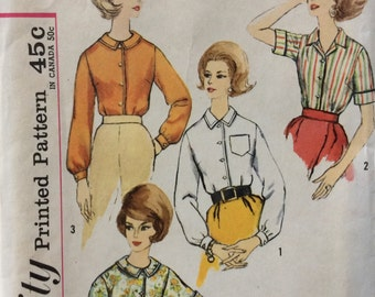 Simplicity 4606 misses blouse size 12 bust 32  Uncut  Factory folds or size 14  bust 34 vintage 1960's sewing pattern