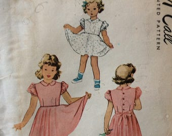 McCall 7094 vintage 1940's girls dress sewing pattern size 4