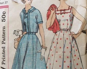 Simplicity 2507 misses sundress & jacket half size size 16.5 size 16 1/2 bust 37 vintage 1950's sewing pattern