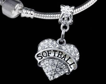 Softball charm fits european style bracelet  softball jewelry softball gift
