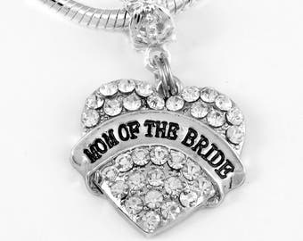 Mom of the Bride Jewelry Mom of the Bride Crystal Heart Charm Only  Gift Mother of the Bride Present Brides Mom