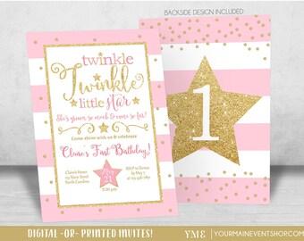 Twinkle Twinkle Little Star Birthday Invitation, Twinkle Twinkle Little Star Invite, Pink and Gold Glitter, First Birthday, 1st Birthday