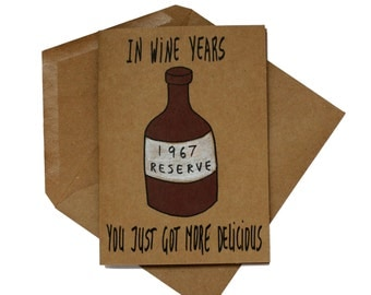 Funny 50th birthday card her - Wine 50th birthday card funny - born 1967 birthday card funny - wine lover birthday card  - wine wife card