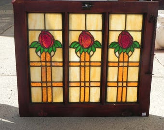 Beautiful Antique Vintage Stained Glass Tulip Window