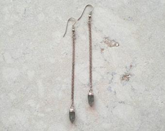 Tourmaline quartz and chain earrings