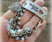 Follow your Heart Connector Bracelet, Blue Rosary Beads, Silver Chains, Mother's Day Gifts, Assemblage Bracelet, Repurposed Upcycled Jewelry