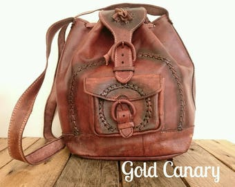 Vintage Chestnut Brown Leather Duffle Slouchy Shoulder Bag Handbag Boho