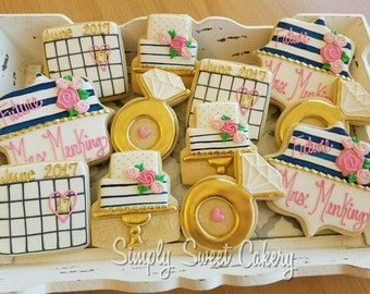 Engagement, bridal shower cookies, save the date,wedding, Bachelorette