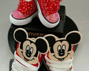 Sibling Set Custom Converse Sneakers- Minnie Mouse- Mickey Mouse- Sponge Bob Square Pants- Minions- Cartoon Character Bling Converse