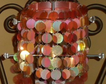 Vintage 2 Tier Funky 1960-70's Pink Iridescent Plastic Lampshade / Decoration