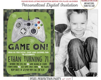 Video Game Invite Etsy - Birthday invitation video